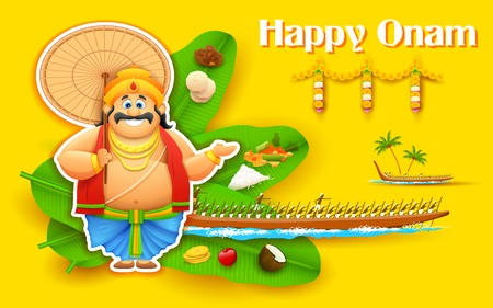 kerala culture: illustration of King Mahabali enjoying Boat Race of Kerla on Onam Illustration