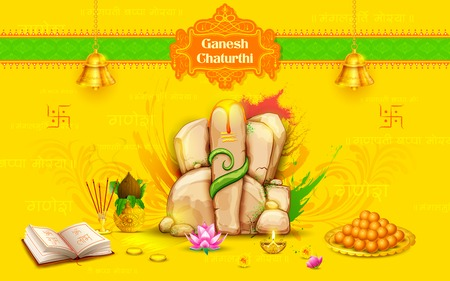 illustration of statue of Lord Ganesha made of rock for Ganesh Chaturthi Vector