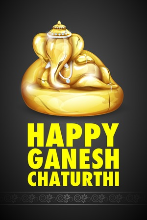 illustration of statue of Lord Ganesha made of gold for Ganesh Chaturthi Vector