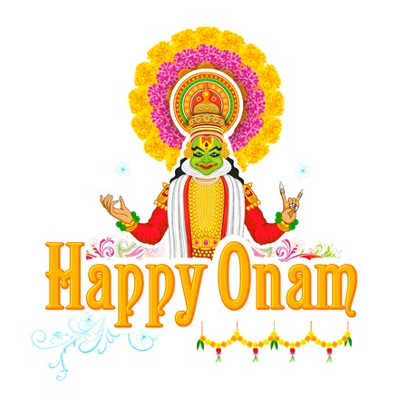 onam: illustration of colorful Kathakali dancer face for Onam celebration
