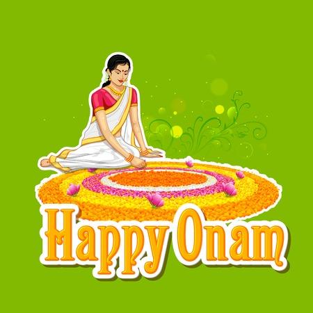 illustration of woman making rangoli for onam Vector