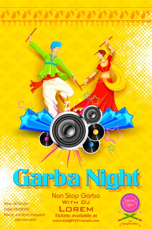 asian and indian ethnicities: illustration of people dancing on disc in Garba night