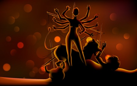 illustration of sculpture of goddess Durga killing Mahishasura in Subh Navratri (Happy Navratri)