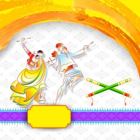 illustration of couple playing garba in disco dandiya poster Vector