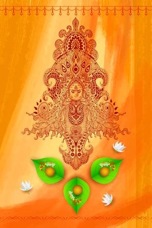 goddess: illustration of colorful Goddess Durga against watercolor background Illustration
