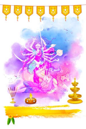 illustration of goddess Durga in Happy Navratri background