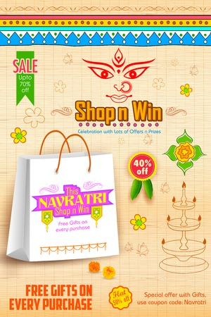 illustration of colorful banners for Happy Navratri Offer promotions Vector