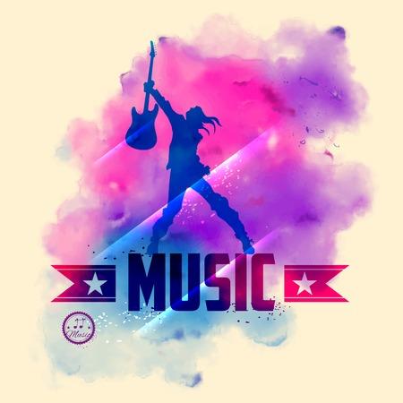 concierto de rock: ilustración de estrella de rock con guitarra de fondo musical