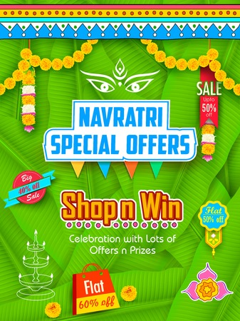 illustration of colorful banners for Happy Navratri Offer promotions