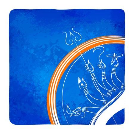 illustration of goddess Durga killing Mahishasura in Subho Bijoya (Happy Dussehra) background Vector