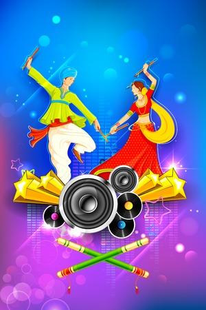 asian and indian ethnicities: illustration of people dancing on disc in dandiya night