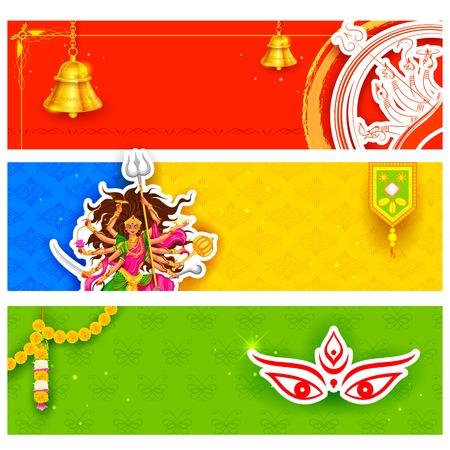 Illustration der bunte Banner für Happy Navratri Angebot Promotionen