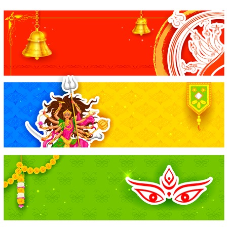 puja: illustration of colorful banners for Happy Navratri Offer promotions