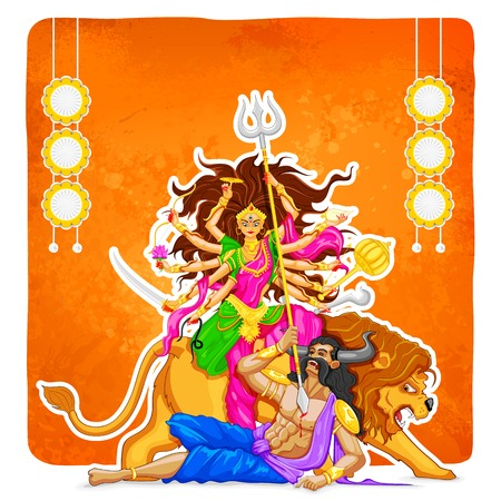 durga: illustration of goddess Durga in Subho Bijoya (Happy Dussehra) background