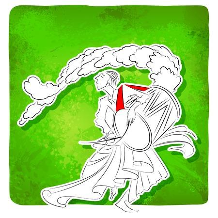 puja: illustration of drummer playing dhol in Durga Puja Illustration