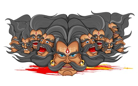 ravana: llustration of Ravana with ten heads for Dussehra Illustration