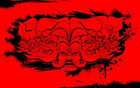 dashamukha: llustration of Raavana with ten heads for Dussehra