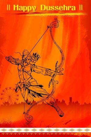 rama: illustration of Lord Rama with bow arrow killing Ravana