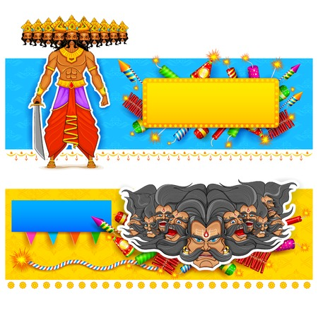 mahishasura: illustration of Ravan in Dussehra advertisment and promotion poster