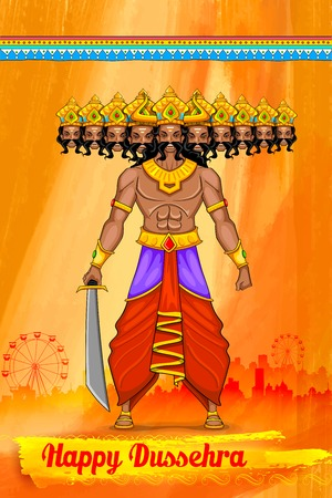 ramayan: illustration of Ravan in Dussehra advertisment and promotion poster
