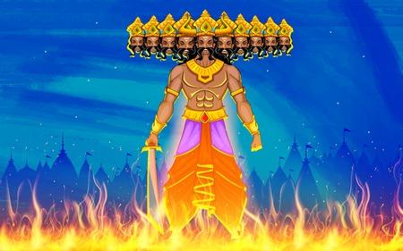 illustration of Ravan Dahan for Dusshera celebration Vector