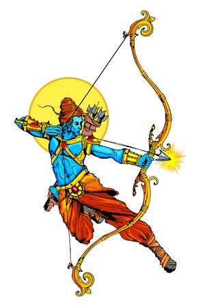 illustration of Lord Rama with bow arrow killing Ravana Stock Vector - 32021717