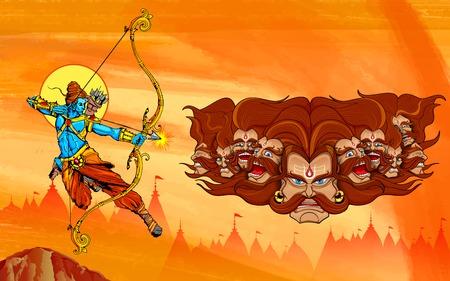 illustratie van Lord Rama met boog pijl doden Ravana