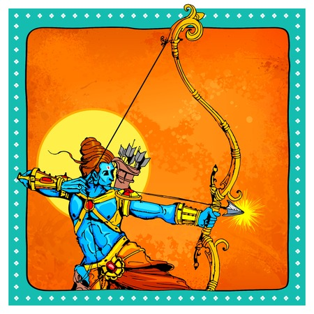 divinity: illustration of Lord Rama with bow arrow killing Ravana
