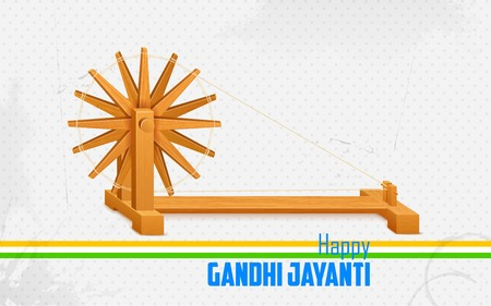 spindle: illustration of spinning wheel on India background for Gandhi Jayanti