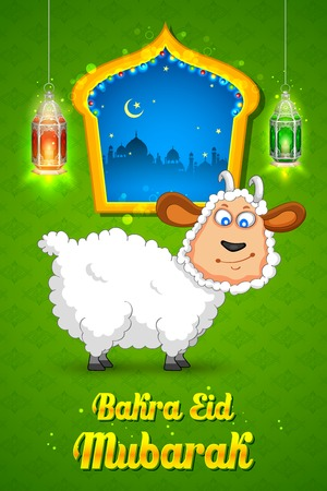 ul: illustration of sheep wishing Bakra Id mubarak