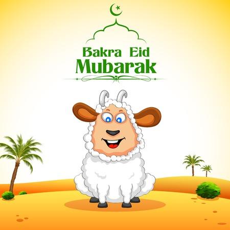 sacrificio: ilustración de ovejas que deseen Bakra Id mubarak