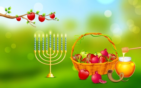 rosh: illustration of Rosh Hashanah background with honey on apple
