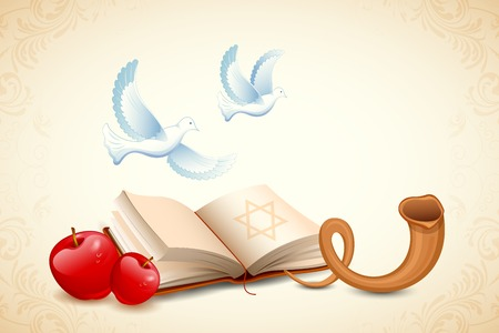 rosh: illustration of Happy Yom Kippur background for Israel festival