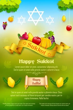 torah: illustration of fruits hanging for Jewish festival Happy Sukkot