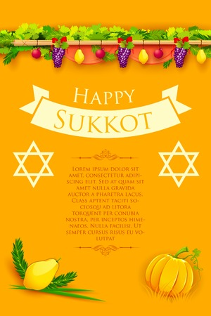 judaism: illustration of fruits hanging for Jewish festival Happy Sukkot