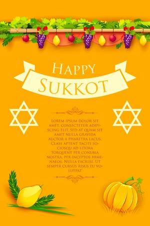 sukkot: illustration of fruits hanging for Jewish festival Happy Sukkot