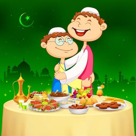 arabian food: illustration of people hugging and wishing Happy Bakrid