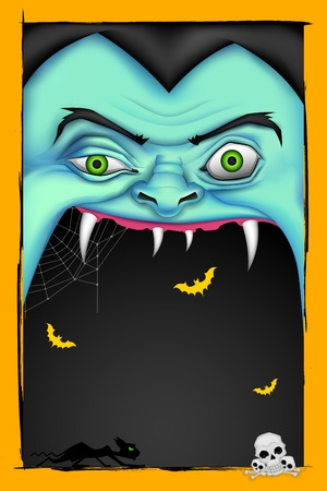 halloween message: illustration of screaming monster for Halloween message Illustration