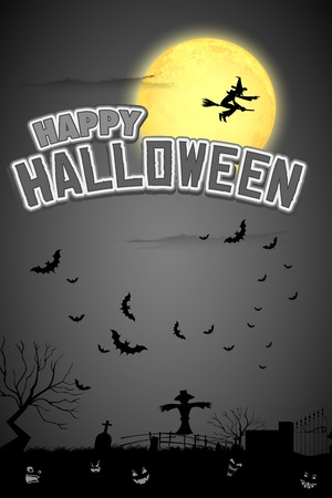 mortality: illustration of witch flying in Happy Halloween Background