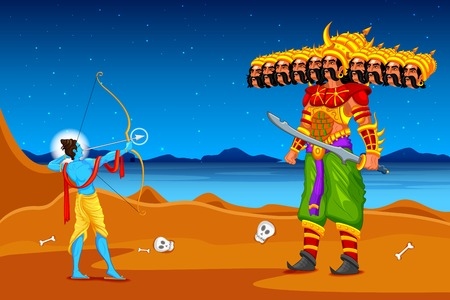 Rama killing Ravana in Dussehra Vector