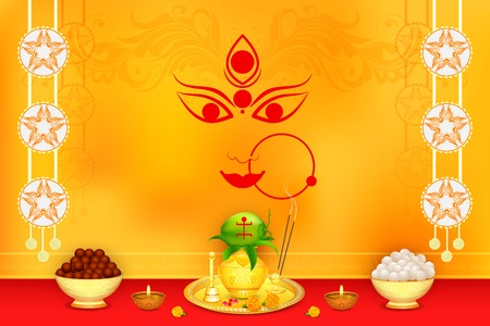 Wishes for Durga Puja Vector