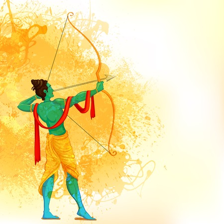 rama: Lord Rama with bow and arrow Illustration