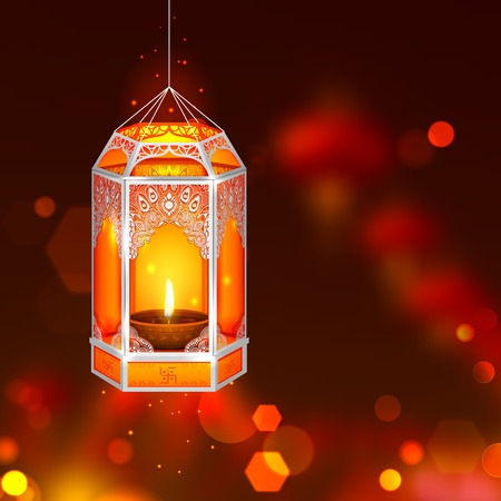 illustration of hanging kandil in Diwali night Vector