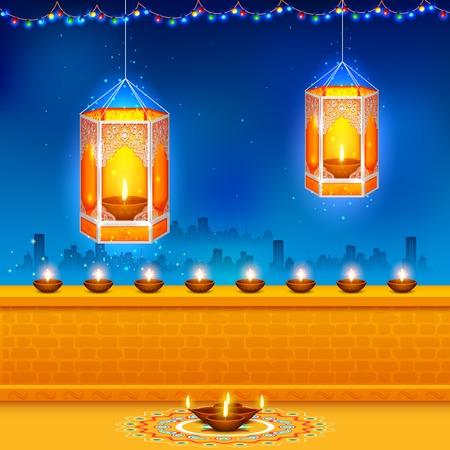 indian light: illustration of hanging kandil in Diwali night