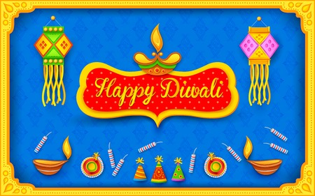 illustration of Diwali background with colorful firecracker Vector