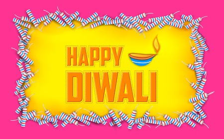illustration of Happy Diwali background with diya and firecracke Vector