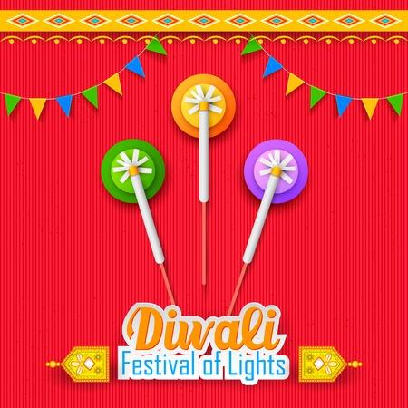 illustration of Happy Diwali Background for celebration greeting Vector