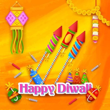 illustration of Happy Diwali Background for celebration greeting Vector