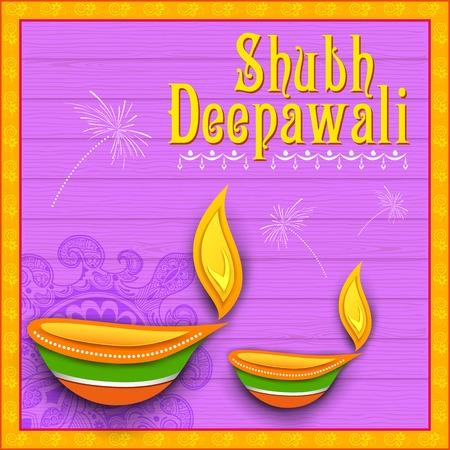 shubh diwali: illustration of Shubh Deepawali (Happy Diwali) background with diya and firecracker