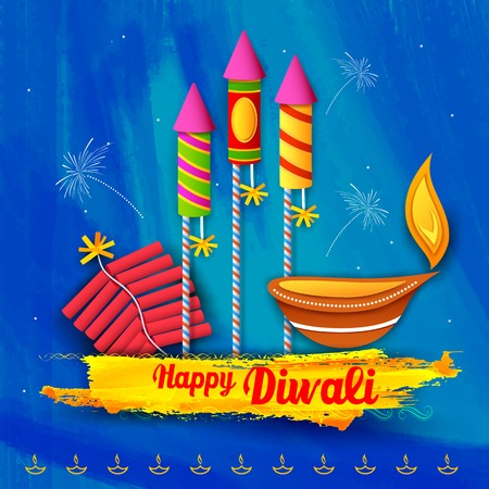 illustration of Happy Diwali Background for celebration greeting Illustration